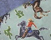 Vintage Retro Coyboy Western Flannel Baby Boy Crib Blanket