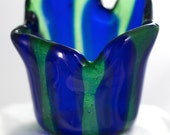 Small Blue & Green Striped Vase