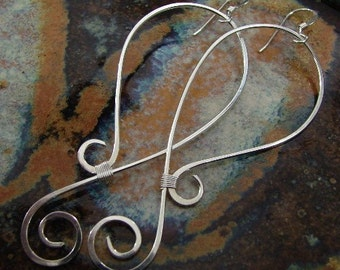 Long Swirls - Sterling silver earrings