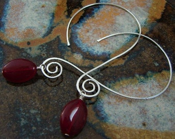 Open Hoops...Sterling Silver Earrings with red glass dangles