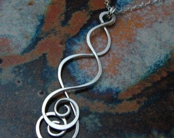 Dangling Swirls - Sterling silver necklace
