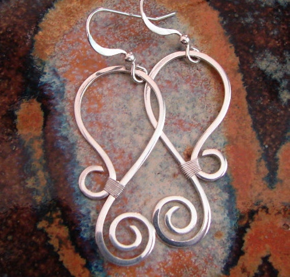 Silver Swirl - Hammered Sterling silver earrings