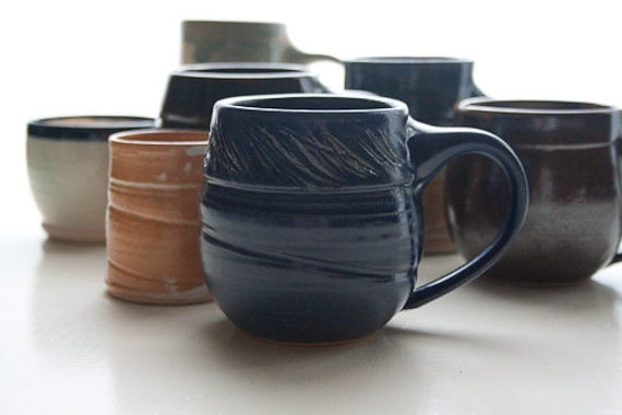 Cobalt Blue Coffee Mug: Wheel-Thrown Pottery Cup