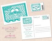 Corazon de Amor Save the Date Postcard Papel Picado Fiesta Wedding Rehearsal Couple Shower Bridal