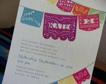 Festive Papel Picado Fiesta Invitation - DIY printable - I Design - You Print