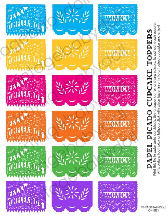 Papel Picado Feliz Cumpleanos Happy Birthday Cupcake Toppers Favor Tags SPRING colors - Personalized-I design, You Print
