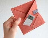 Peach & Grey 6 Pocket Cardholder - Cotton Origami