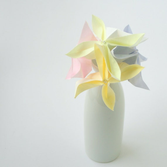 SALE Mothers Day Flowers, Origami Flowers, Bridal Bouquet, Spring wedding, Cotton & Silk Fabric Origami Bouquet Posy bakers twine