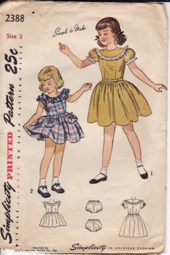 Vintage Sewing Pattern...Simplicity 2388...Pretty Girls Dress...Dated 1948