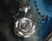 Silver Heart and Rose Pendant Necklace - Limited Edition