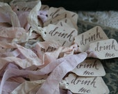 Brand New---Alice in Wonderland - DRINK ME tags, set of 24, your choice of ribbon colors