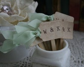 WEDDING CUPCAKE TOPPER -  monogram cupcake topper/ food pick - vintage wedding, woodland wedding - set of 50