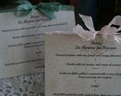 Wedding Menu - Vintage, Rustic, Woodland, French Themes