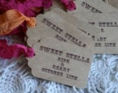 50 Custom Favor Tags - weddings, showers, events, - choose your design, ribbon, font