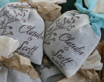 WEDDING FAVOR -  Custom Bridal Shower Favor - Personalized Lavender or Tea filled sachet - French, Rustic, Wonderland, Woodland, Vintage