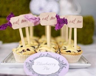 ALICE in WONDERLAND WEDDING - Cupcake Toppers - Eat Me - carnival, wonderland, woodland, vintage, birthday party