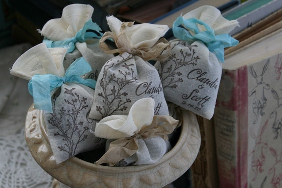 WEDDING FAVOR -  Bridal Shower Favor - Lavender or Tea filled sachet - French, Rustic, Wonderland, Woodland, Beach, Vintage