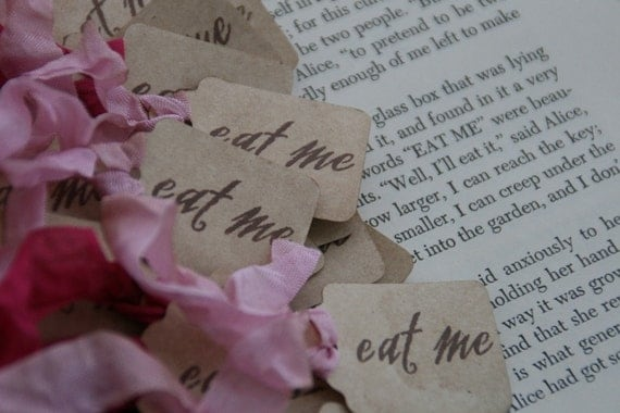 Brand New---Alice in Wonderland - EAT ME tags, set of 24, your choice of ribbon colors