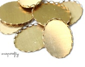 20pc 25x18mm lace edged raw brass setting for cabochons and cameos