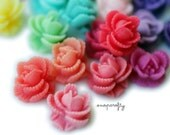 120pc ruffled rose cabochons deluxe set, matte resin, flatback for gluing to hairpins and rings 11mm