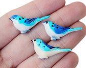 6pc hand painted bird cabochons / flat backed embellishment for diy jewelry and more