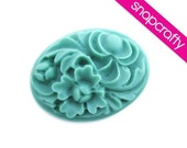 teal large oval floral cabochon 2pcs 30x40mm