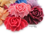 10pc blooming rose large flower cabochons / 11 colors / resin flowers for diy jewelry and embellishments