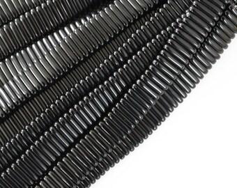 1 strand black bar two hole czech glass beads / opaque jet black / 50 beads
