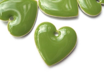 cute olive green enameled heart charm, 6 pcs