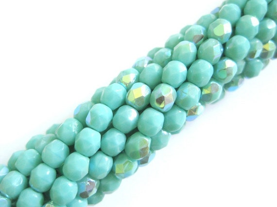 AB turquoise 4mm fire polish czech glass bead strand