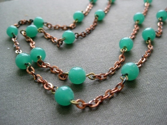 vintage copper chain with green glass beads, 3 feet (1 meter)