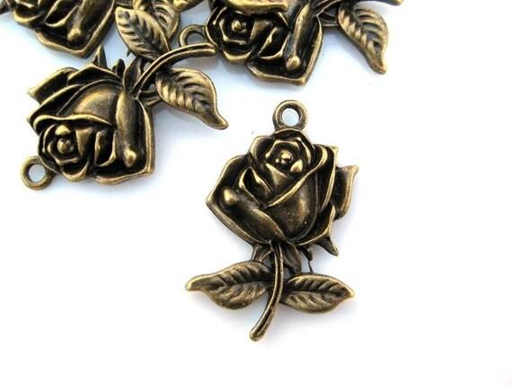 4pc antique brass rose charm lead, nickel free MCHARM002