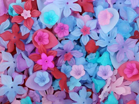 1oz / 65pc berry patch lucite flower bead mix / lucite flower bead assortment