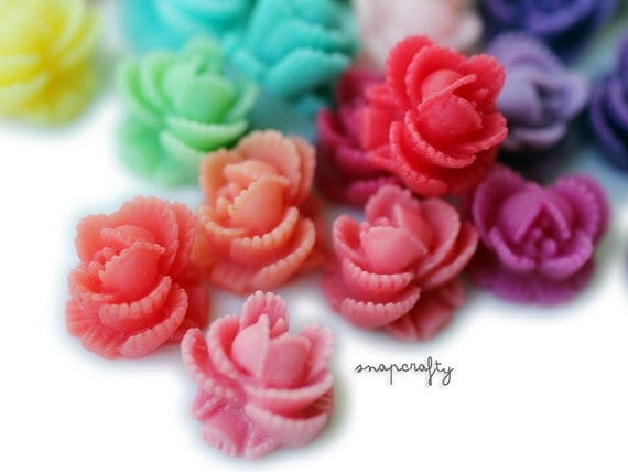 60pc ruffled rose cabochons deluxe set, matte resin, flatback for gluing to hairpins and rings 11mm