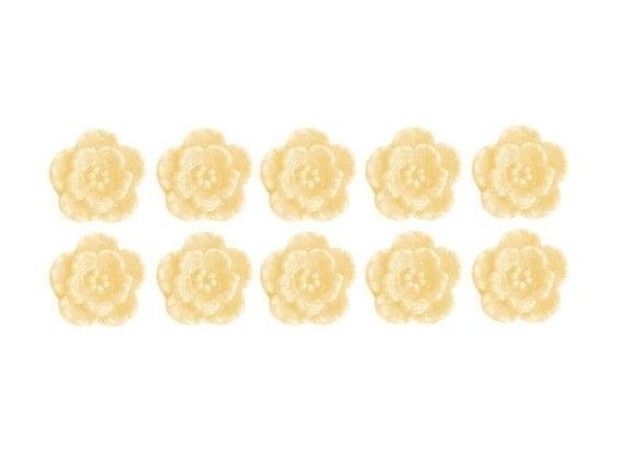 ivory flower blossom vintage style cabochons, 10 pcs