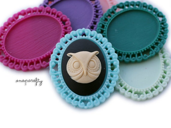 5pc swirl edge matte resin 40x30mm pendant cabochon settings / for diy jewelry / choose your colors