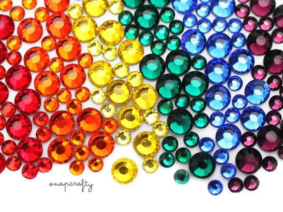 5mm rainbow mix 100pc crystal rhinestone bling glass DMC flatback stones