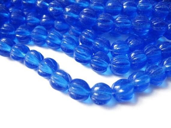 25 pcs cobalt blue czech medium glass melon beads, 7mm