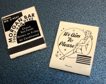Vintage Detroit Adult Bar Matches (2) - We Aim to Please - Bold Black and White Graphics, Father's Day, Ephemera, Collectible