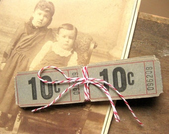 Vintage Tan Black and Red Number Tickets - Ten Cents (60 tickets) use for Tags, in Collage