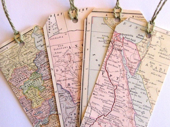 Handmade Antique Map (1907) Tags, Extra Large, Set of 4