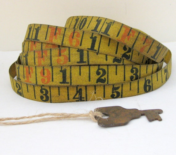 Vintage Linen Measuring Tape, 9 ft Length, Softly Aged - w/Vintage Key