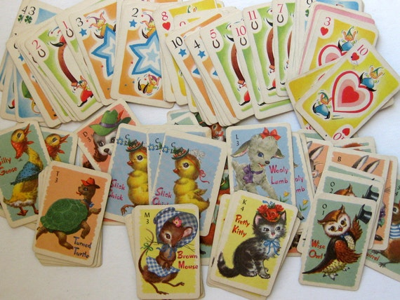 Vintage Miniature Game Cards - Cute Animals and Pixies (20 tiny cards)