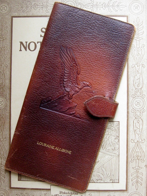Rustic American Eagle Embossed Leather US Bonds Case, 1950s