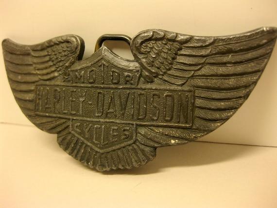 Vintage Classic Harley Davidson Motorcycle Belt Buckle, Wings