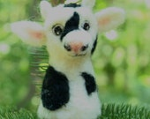 Needle Felted Cow Finger Puppet