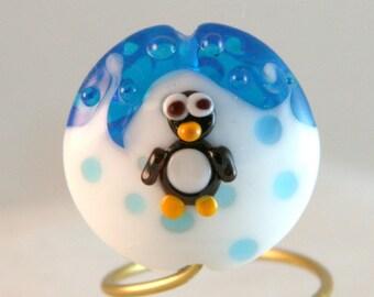 BWB Large Penguin Lentil Glass Bead Lampwork Burnt Wood Beads SRA LE