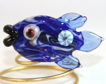Blue Fish Bead with Murrini BWB