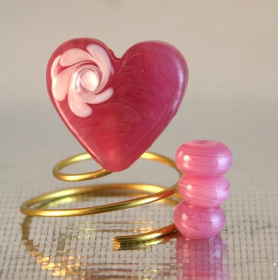 Pink Flower Heart Burnt Wood Beads SRA