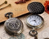 Vintage Owl Series Pocket Watch Charm Pendant - Bonus Matching Necklace Chain Included (SM015)